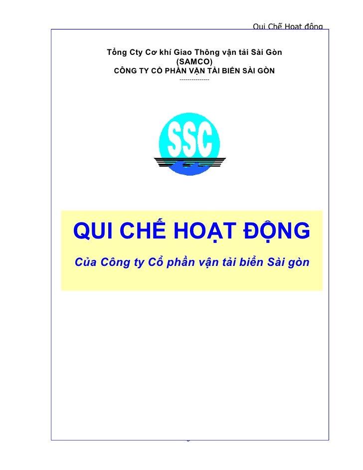 Qui Chế Hoạt động     Tổng Cty Cơ khí Giao Thông vận tải Sài Gòn                     (SAMCO)      CÔNG TY CỔ PHẦN VẬN TẢI ...