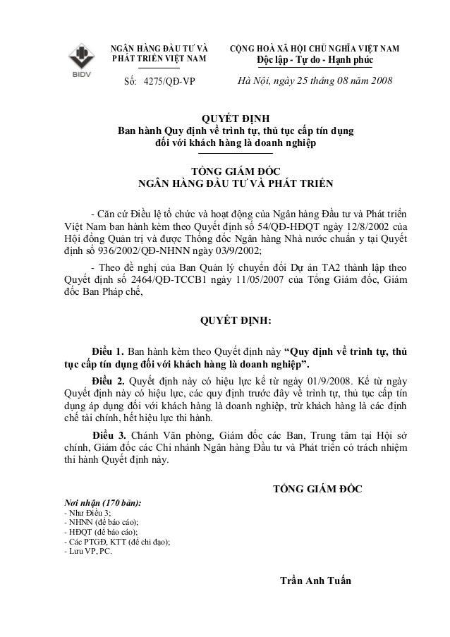 NGÂN HÀNG ĐẦU TƯ VÀ PHÁT TRIỂN VIỆT NAM Số: 4275/QĐ-VP CỘNG HOÀ XÃ HỘI CHỦ NGHĨA VIỆT NAM Độc lập - Tự do - Hạnh phúc Hà N...
