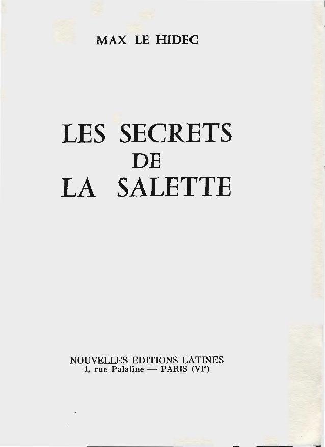 """MAX LE HIDEC LES SECRETS DE LA SALETTE NOUVELLES EDITIONS LATINES 1, rue Palatine - PARIS (VI"""")"""