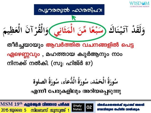 Surat Al fathiha - Study notes (Malayalam)