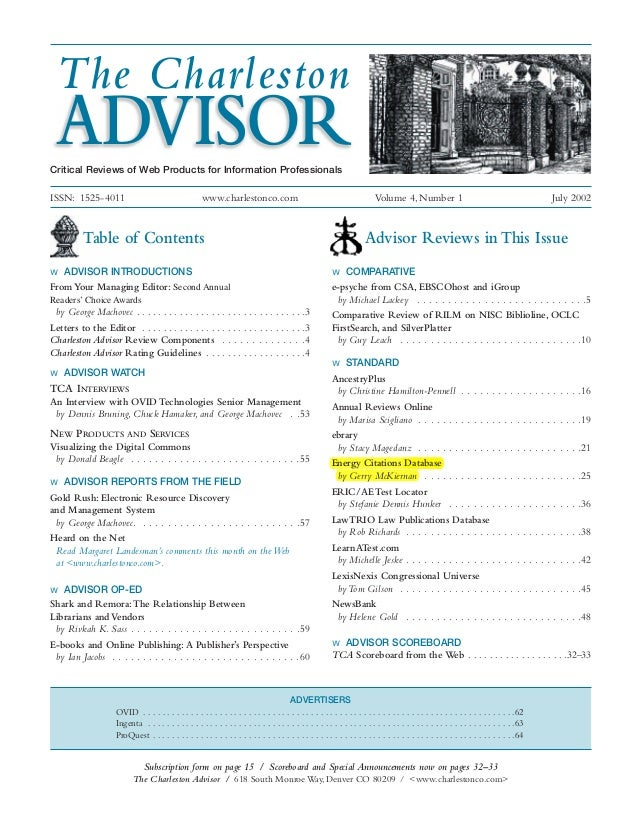 Table of Contents w ADVISOR INTRODUCTIONS From Your Managing Editor: Second Annual Readers' Choice Awards by George Machov...