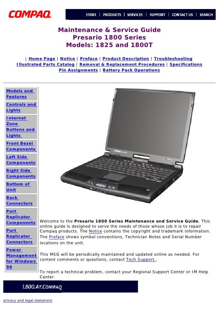 Maintenance & Service Guide                           Presario 1800 Series                        Models: 1825 and 1800T  ...