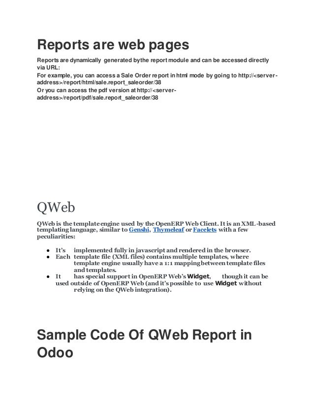 QWeb Report in odoo