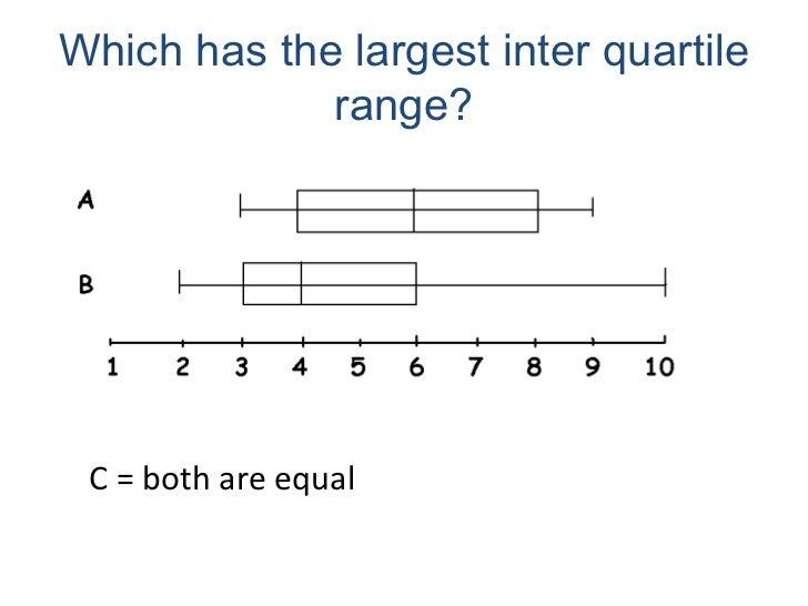 Which has the largest inter quartile range? <ul><li>C = both are equal </li></ul>