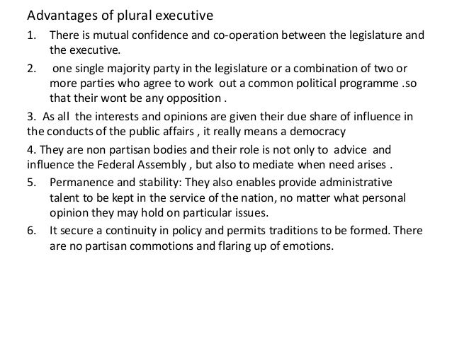 example of plural executive