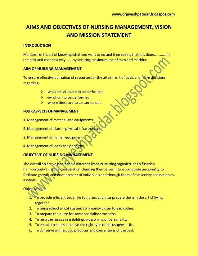 Aims And Objectives Of Nursing Management Vision Mission Statement