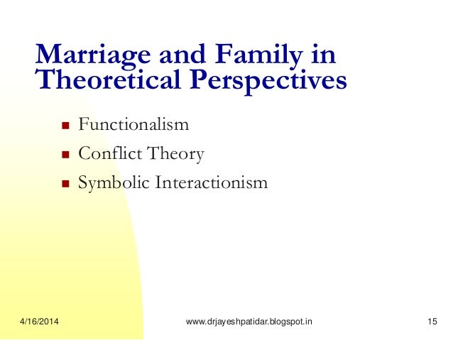 functionalist and conflict perspectives on family Functionalism: the family performs several essential functions for society  the family and conflict  152 sociological perspectives on the family by .