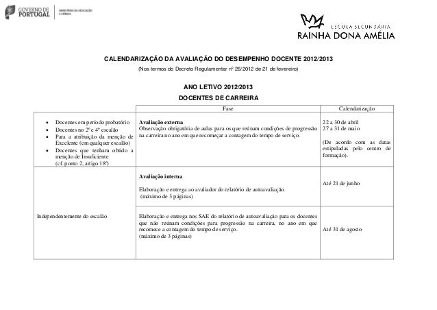 CALENDARIZAÇÃO DA AVALIAÇÃO DO DESEMPENHO DOCENTE 2012/2013 (Nos termos do Decreto Regulamentar nº 26/2012 de 21 de fevere...