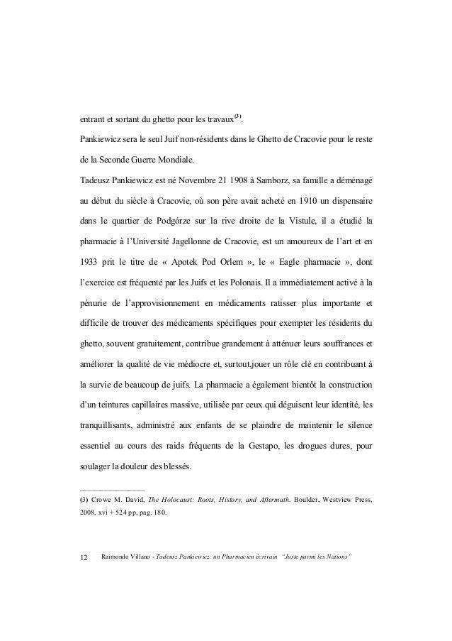 """Raimondo Villano - Tadeusz Pankiewicz: un Pharmacien écrivain """"Juste parmi les Nations"""" 13 intellectuels, artistes et scie..."""