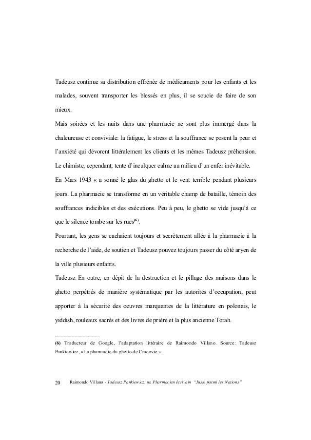 """Raimondo Villano - Tadeusz Pankiewicz: un Pharmacien écrivain """"Juste parmi les Nations"""" 21 Après la guerre, en outre, Tade..."""