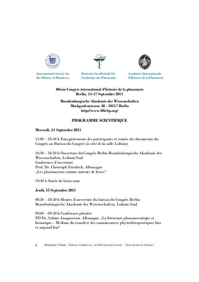 """Raimondo Villano - Tadeusz Pankiewicz: un Pharmacien écrivain """"Juste parmi les Nations"""" 5 09:45 – 10:45 h Communications 1..."""