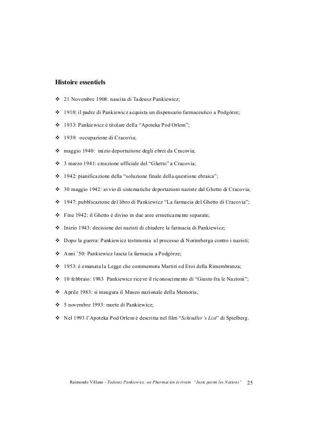 "Raimondo Villano - Tadeusz Pankiewicz: un Pharmacien écrivain ""Juste parmi les Nations""26 Bibliographie essentiels Wladysl..."