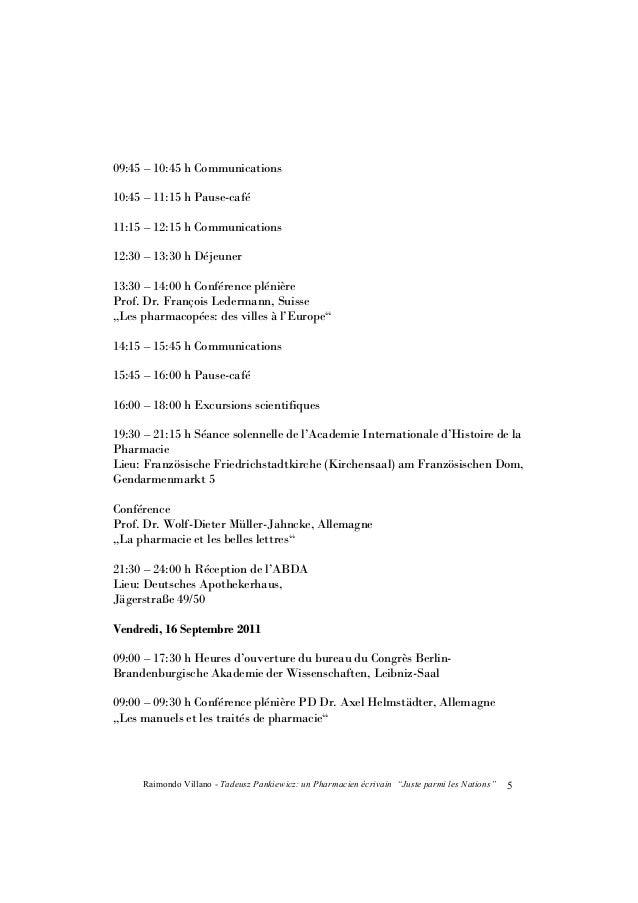 """Raimondo Villano - Tadeusz Pankiewicz: un Pharmacien écrivain """"Juste parmi les Nations""""6 09:45 – 10:45 h Présentation des ..."""