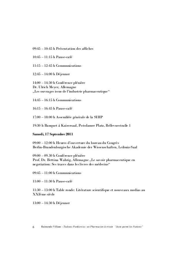 """Raimondo Villano - Tadeusz Pankiewicz: un Pharmacien écrivain """"Juste parmi les Nations"""" 7 14:30 – 15:30 h Cérémonie de clô..."""