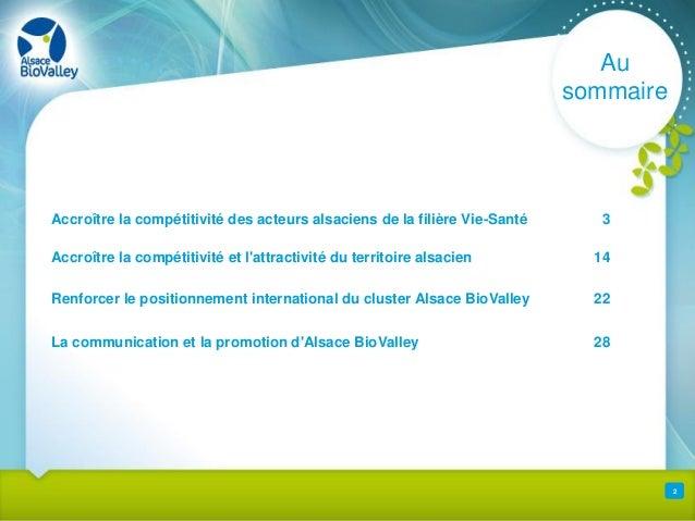 Rapport d'activités Alsace BioValley 2012 Slide 2