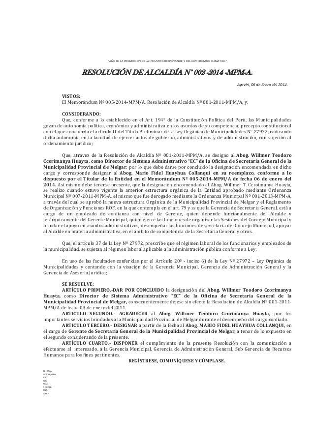 """""""AÑO DE LA PROMOCION DE LA INDUSTRIA RESPONSABLE Y DEL COMPROMISO CLIMATICO""""  RESOLUCIÓN DE ALCALDÍA N° 002 -2014 -MPM-A. ..."""