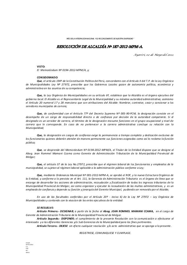 """""""AÑO DE LA INTEGRACION NACIONAL Y EL RECONOCIMIENTO DE NUESTRA DIVERSIDAD """" RESOLUCIÓN DE ALCALDÍA Nº 187-2012-MPM-A. Ayav..."""