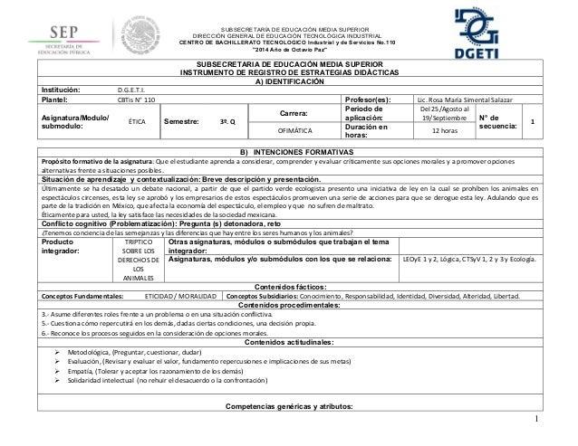 SUBSECRETARÍA DE EDUCACIÓN MEDIA SUPERIOR  DIRECCIÓN GENERAL DE EDUCACIÓN TECNOLÓGICA INDUSTRIAL  CENTRO DE BACHILLERATO T...