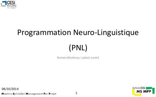 Programmation Neuro-Linguistique  (PNL)  Romain Bénéteau, Ludovic Levieil  08/10/2014  Mastère Spécialisé Management Par P...