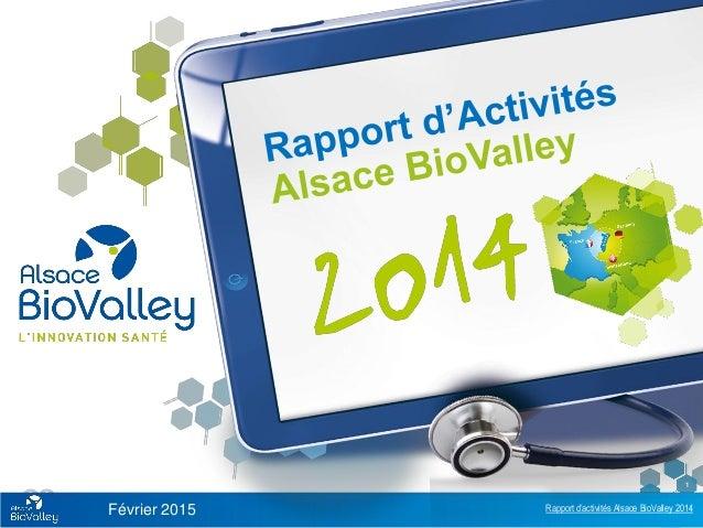 Rapport d'activités Alsace BioValley 2014 1 Février 2015
