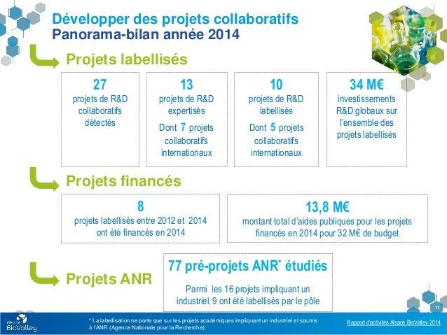 Rapport d'activités Alsace BioValley 2014 11 Développer des projets collaboratifs Panorama-bilan année 2014 * La labellisa...