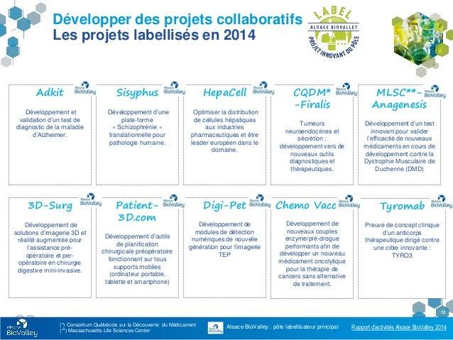Rapport d'activités Alsace BioValley 2014 12 Développer des projets collaboratifs Les projets labellisés en 2014 Adkit Dév...
