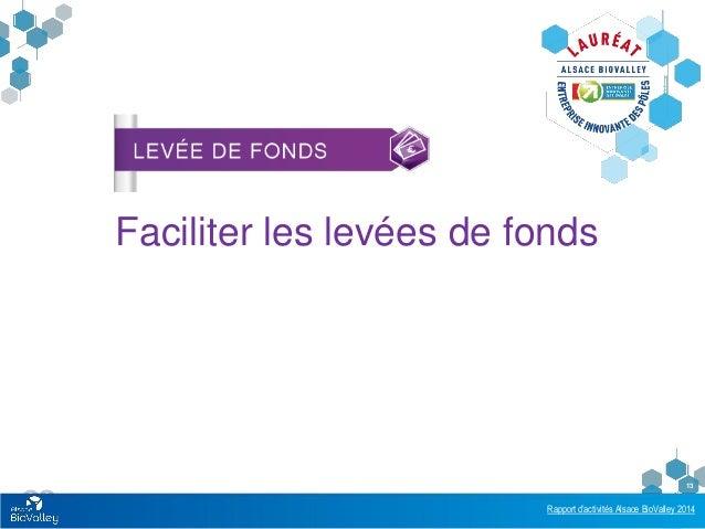 Rapport d'activités Alsace BioValley 2014 13 Faciliter les levées de fonds