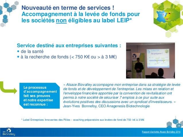 Rapport d'activités Alsace BioValley 2014 14 Le processus d'accompagnement fait ses preuves et notre expertise est reconnu...
