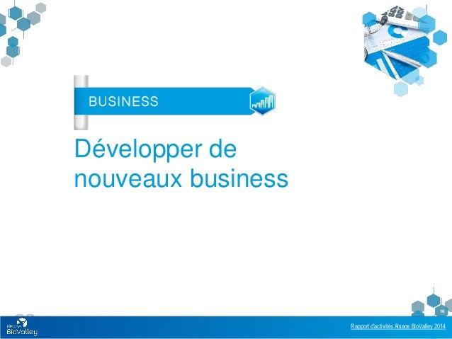 Rapport d'activités Alsace BioValley 2014 16 Développer de nouveaux business