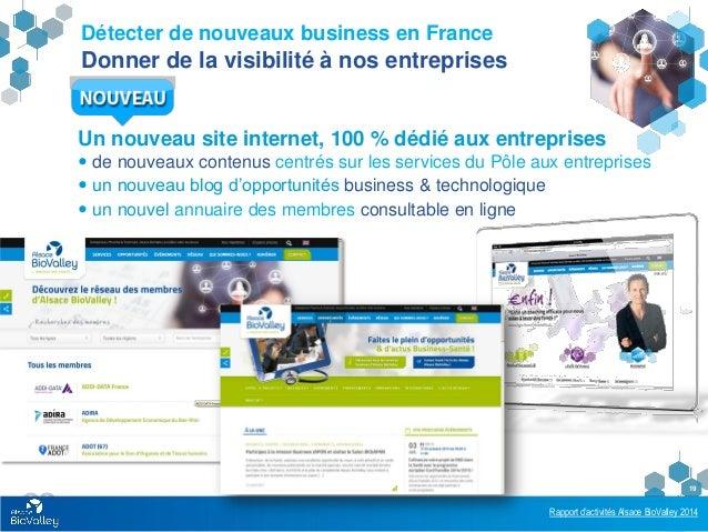 Rapport d'activités Alsace BioValley 2014 19 Détecter de nouveaux business en France Donner de la visibilité à nos entrepr...