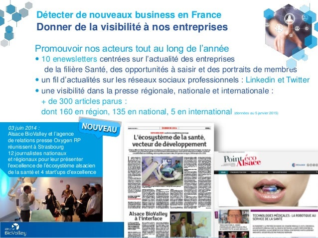 Rapport d'activités Alsace BioValley 2014 20 Détecter de nouveaux business en France Donner de la visibilité à nos entrepr...