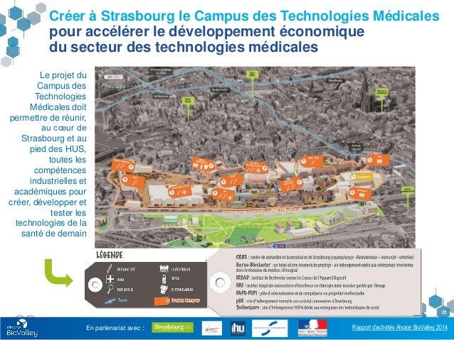 Rapport d'activités Alsace BioValley 2014 23 Créer à Strasbourg le Campus des Technologies Médicales pour accélérer le dév...