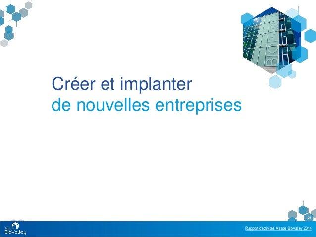 Rapport d'activités Alsace BioValley 2014 24 Créer et implanter de nouvelles entreprises