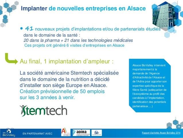 Rapport d'activités Alsace BioValley 2014 25 Implanter de nouvelles entreprises en Alsace  41 nouveaux projets d'implanta...