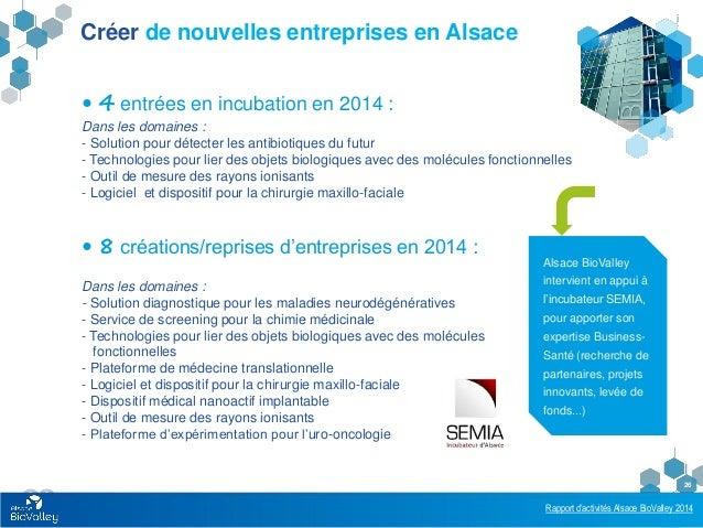 Rapport d'activités Alsace BioValley 2014 26 Créer de nouvelles entreprises en Alsace  4 entrées en incubation en 2014 : ...