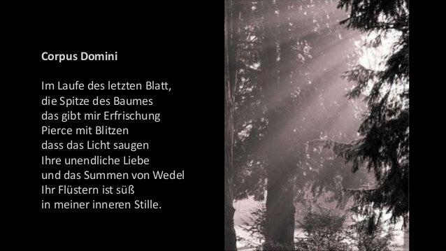 Corpus Domini Im Laufe des letzten Blatt, die Spitze des Baumes das gibt mir Erfrischung Pierce mit Blitzen dass das Licht...