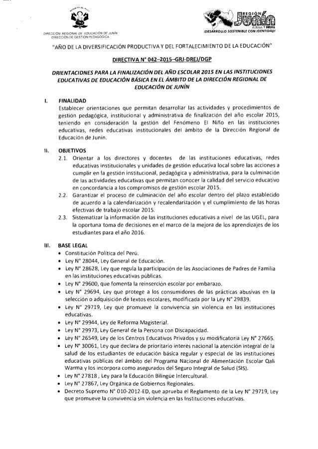 R.D y Directiva de Finalización del Año Escolar  2015 (1)