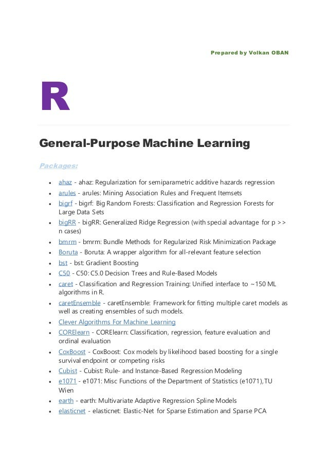 R Machine Learning packages( generally used)