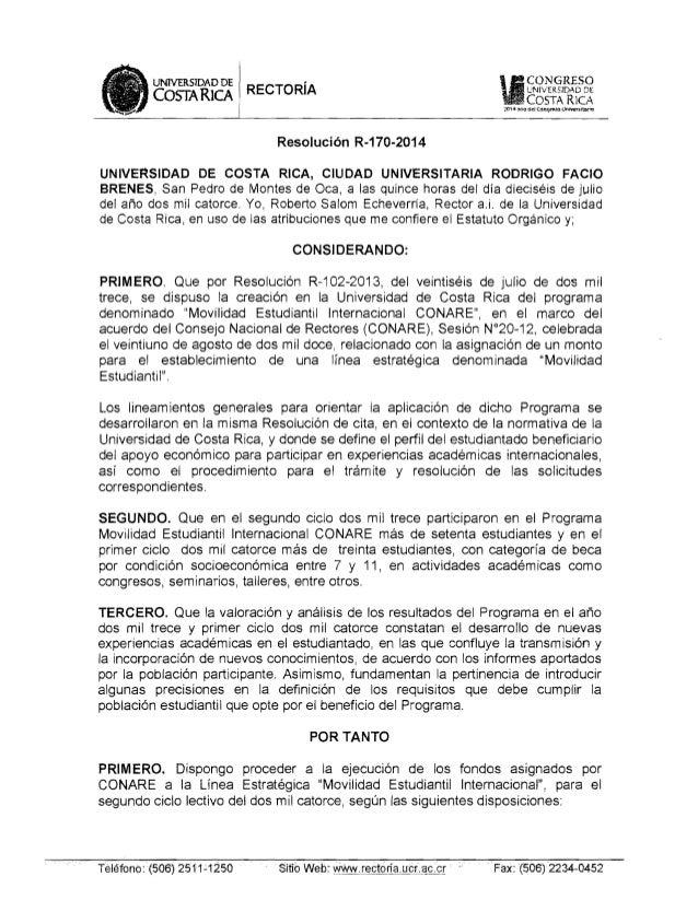 """CONGRESOUNlVERS1DAD DE RECTORíAl· UNIVERSIDAD DE COSTARICA COSTA R10 """"JO' 6 ~ito~et Con«ymo Uflfoversltal""""o I Resolución R..."""