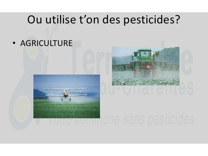 Ou utilise t'on des pesticides?<br />AGRICULTURE<br />