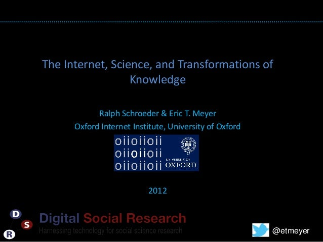 The Internet, Science, and Transformations of                  Knowledge                          TITLE            Ralph S...