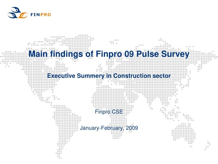 Main findings of Finpro 09 Pulse Survey      Executive Summery in Construction sector                        Finpro CSE   ...