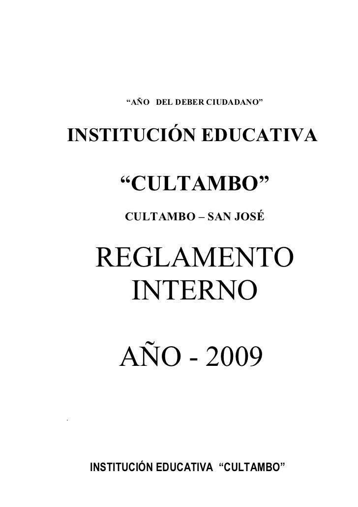 """I.             """"AÑO DEL DEBER CIUDADANO""""    INSTITUCIÓN EDUCATIVA          """"CULTAMBO""""          CULTAMBO – SAN JOSÉ       R..."""