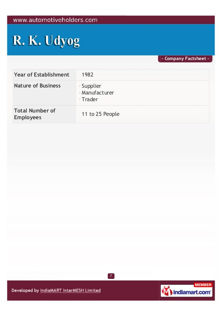 - Company Factsheet -Year of Establishment   1982Nature of Business      Supplier                        Manufacturer     ...