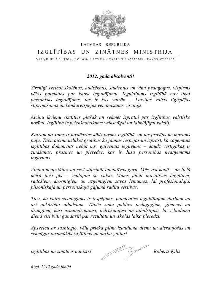 LATVIJAS       REPUBLIKA   IZGLĪTĪBAS UN ZINĀTNES                                      MINISTRIJA  VAĻŅU IE LA 2 , R ĪGA, ...