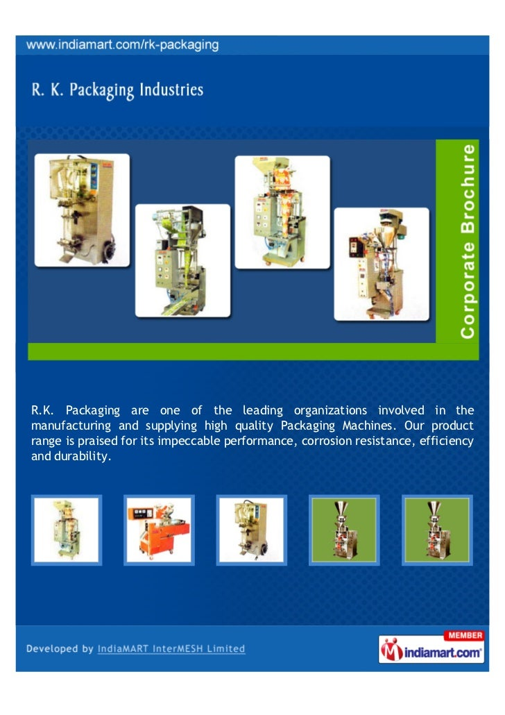 R.K. Packaging are one of the leading organizations involved in themanufacturing and supplying high quality Packaging Mach...