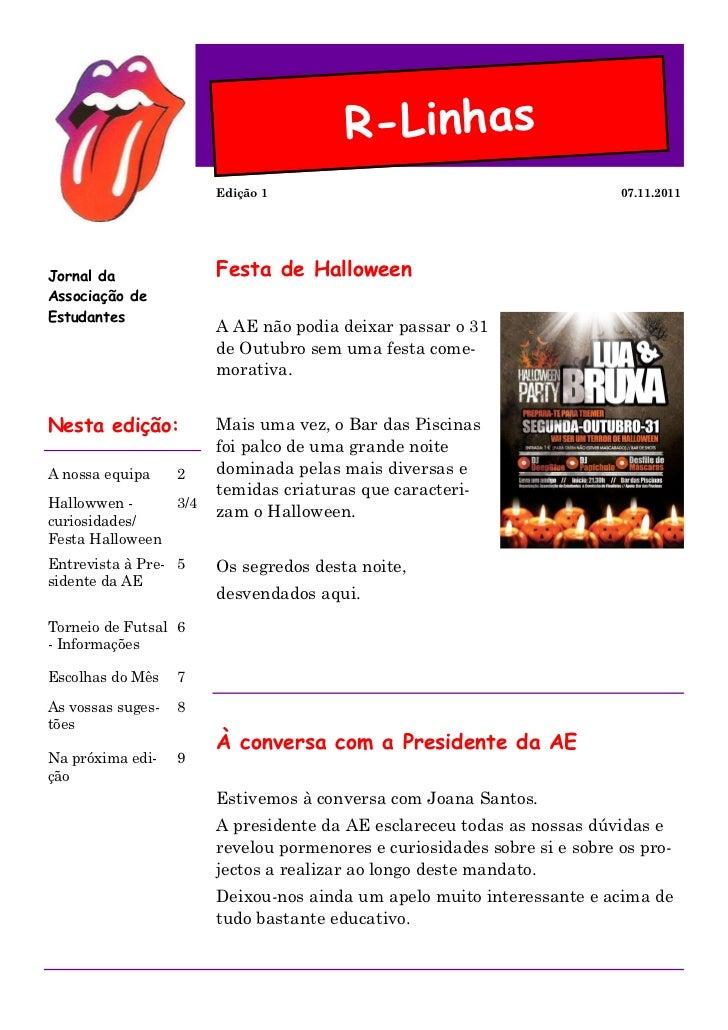 R-Linhas                         Edição 1                                           07.11.2011Jornal da                Fes...