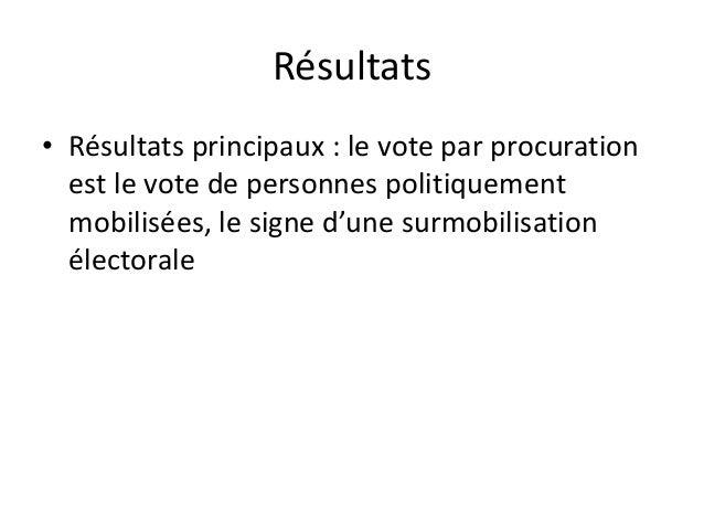 Résultats • Résultats principaux : le vote par procuration est le vote de personnes politiquement mobilisées, le signe d'u...