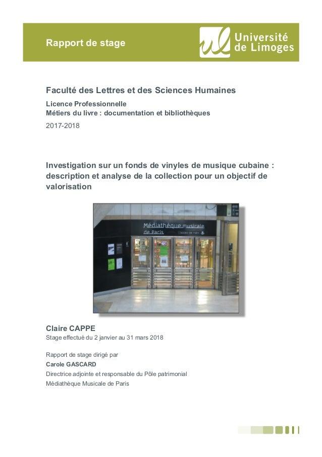 Faculté des Lettres et des Sciences Humaines Licence Professionnelle Métiers du livre : documentation et bibliothèques 201...