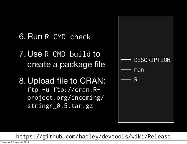 6. Run R CMD check 7. Use R CMD build to create a package file 8. Upload file to CRAN: ftp -u ftp://cran.R- project.org/inco...